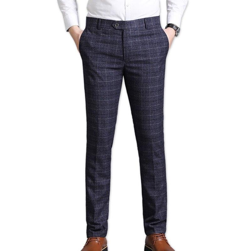 Homens vestido terno pant negócios casual fino ajuste clássico terno calças de casamento masculino versão coreana xadrez calças casuais calças finas