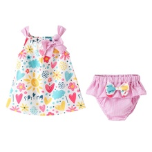 цена на Baby Girls Clothes suit Spring and summer sleeveless cotton print girls vest skirt + striped pp pants