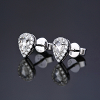 Caimao 0.25ct White Rose Cut Moissanite 14k white gold with Halo accent moissanite Earrings Studs