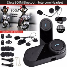 1 Pair 8 Hours Waterproof Bluetooth Motorcycle Helmet Intercom Headset Sport Helmets BT Intephone With RM Radio