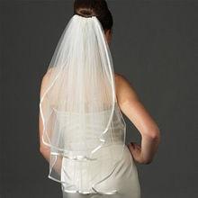 Branco/Iovry 2 Tieres Ombro Comprimento Nupcial Do Casamento Veils com Fita de Borda(China (Mainland))
