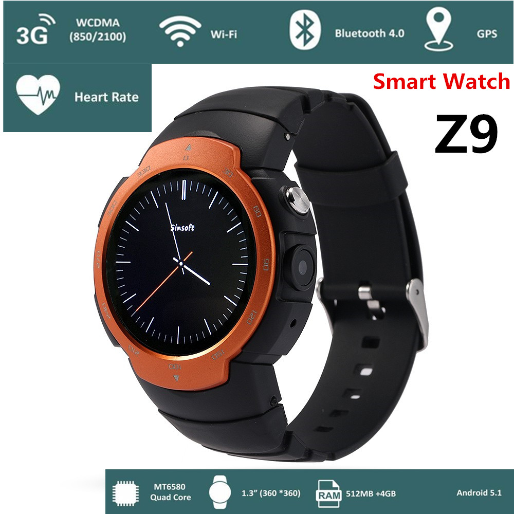 Android 5.1 Bluetooth 4.0 Smart Watch Z9 Phone 360*360 Full Screen Support Google Voice GPS Map 3G WIFI GPS Sports Outdoor watch