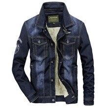 2018 Winter Fleece Turn Down Collar Denim Jackets Warm Jeans Parkas Thicken Casual Fashion Military Coat Business