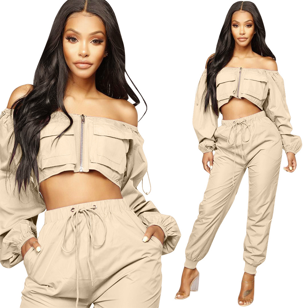 2 Piece Set Crop Top And Harem Pants Sexy Off Shoulder Long Sleeve Woman Streetwear Two Piece Set Cargo Pants Casual Tracksuit