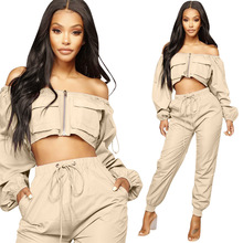 2 Piece Set Crop Top And Harem Pants Sexy Off Shoulder Long Sleeve Woman Streetwear Two Piece Set Cargo Pants Casual Tracksuit instahot grey tracksuit reflective flash side zip buckle women two piece set autumn crop top cargo pants casual streetwear sets