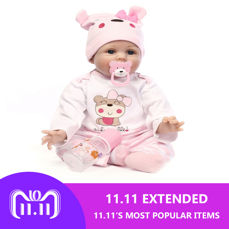 55cm Silicone Reborn Baby Doll Toys Lifelike Soft Cloth Newborn babies Doll Reborn Birthday Gift Girls 55cm doll reborn babies full soft silicon lifelike newborn baby dolls baby reborn simulation toys gift for children partner