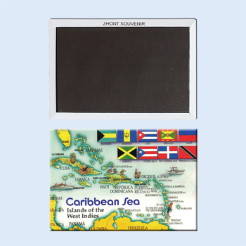 Декоративные магниты на холодильник Caribbean sea карта сувенир для магазина 22175 винтажное изображение