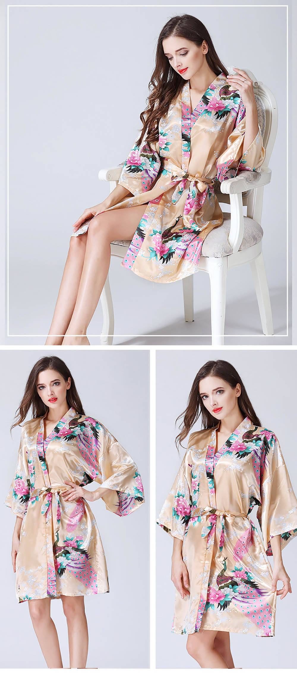 Frauen Satin Short Floral Kimono Bademantel Morgenmantel Pfau ...