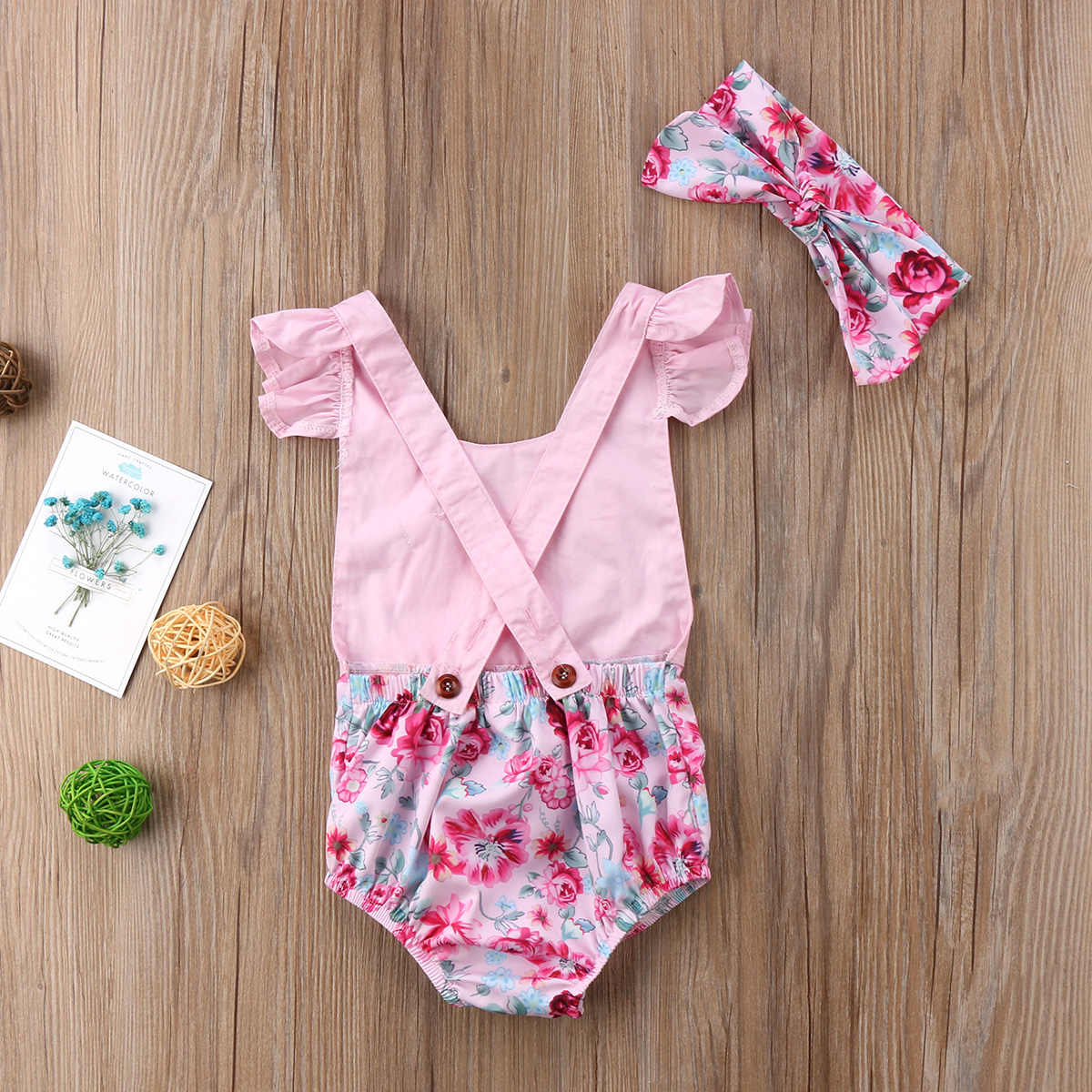 87bfa4c0d ... 2018 New Easter Floral Romper Newborn Baby Girl Bunny Romper Flying  Sleeve Jumpsuit Outfits Summer Flower