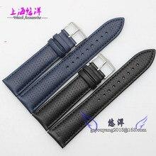 Высокое качество 22 мм черный синий мягкий Sweatband кожаный ремешок стальной пряжкой наручные часы группа для AR1736 AR1735 AR1737