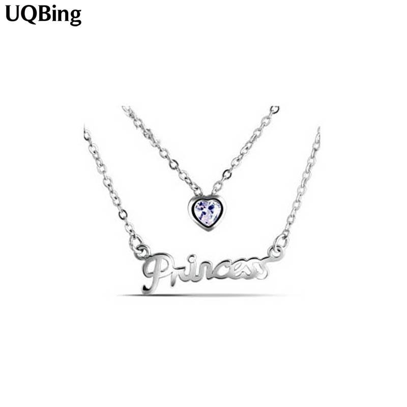 Free Shipping 925 Sterling Silver Princess Pendants Necklaces Wholesale Colgante Pingente de plata