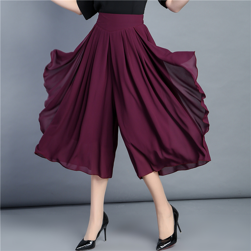 Calf Length Spring Summer Women Shorts Skirts Chiffon High Waist Pleated Skirt Casual Streetwear Long Skirts Loose Female