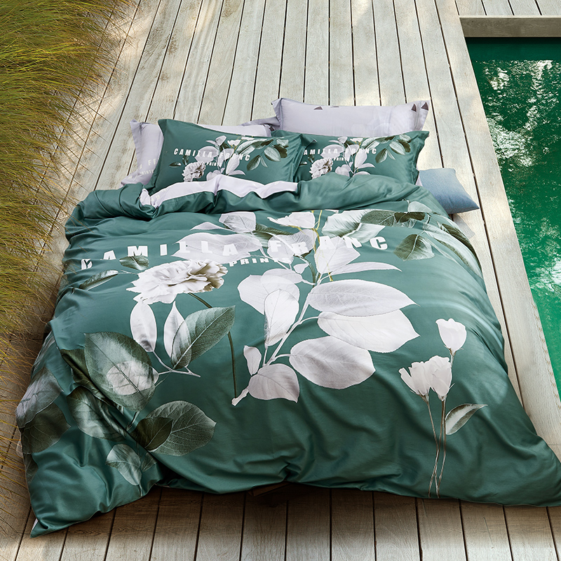 Summer Soft 4Pcs Queen King size Bedding set Super Soft 100 Cotton Bed Sheets set Green