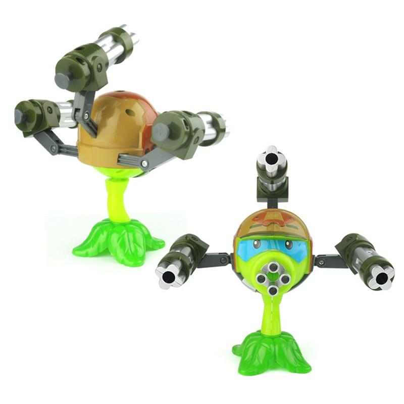 Plants vs Zombies Toys Anime Figure Model 15cm Gatling Pea shooter High Quality