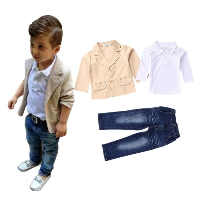 2017 Новые дети мальчики одежда устанавливает пальто куртка Футболка брюки 3 шт. мода спортивный костюм устанавливает мальчиков одежда устанавливает 2 3 4 5 6 7 8 лет