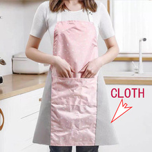 1Pcs Cooking Waterproof Oxford cloth Apron Woman Adult Bibs Home Cooking Baking Coffee Shop Cleaning Aprons Accessory With cloth rainbow unicorn waterproof cooking baking apron