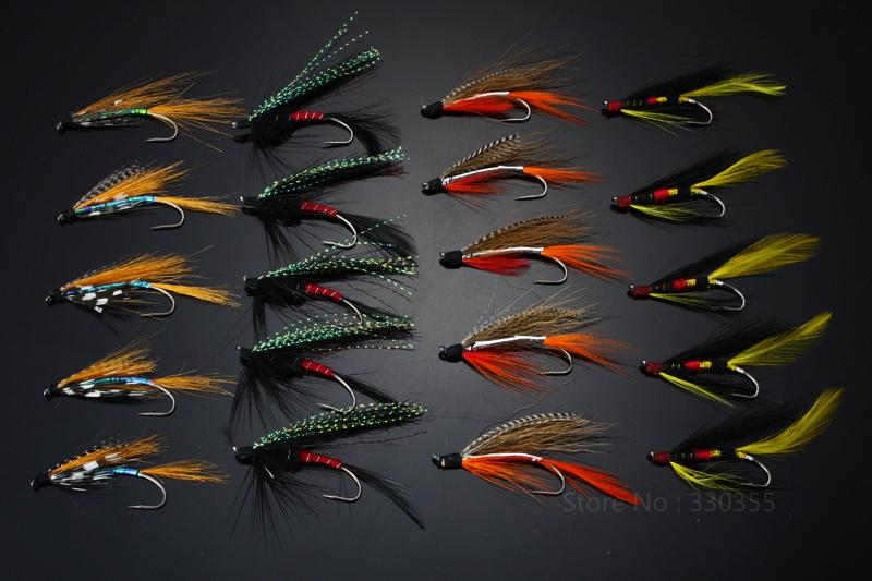 Prix pour 40 Pcs Mouches à Saumon Simples Noir/Orange Sea Salmon Trout Fly Mouche De Pêche