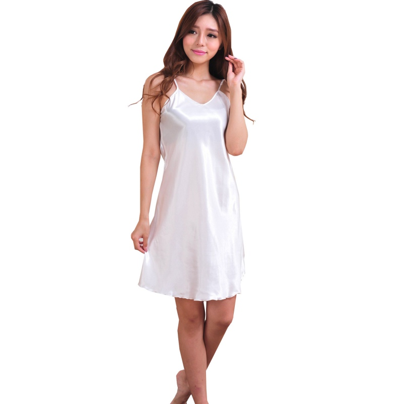 Fashion Women satin dress Clothes nightwear Night Deep V Silk Nightgowns Sleepwear Sleepshirts Robes night dress