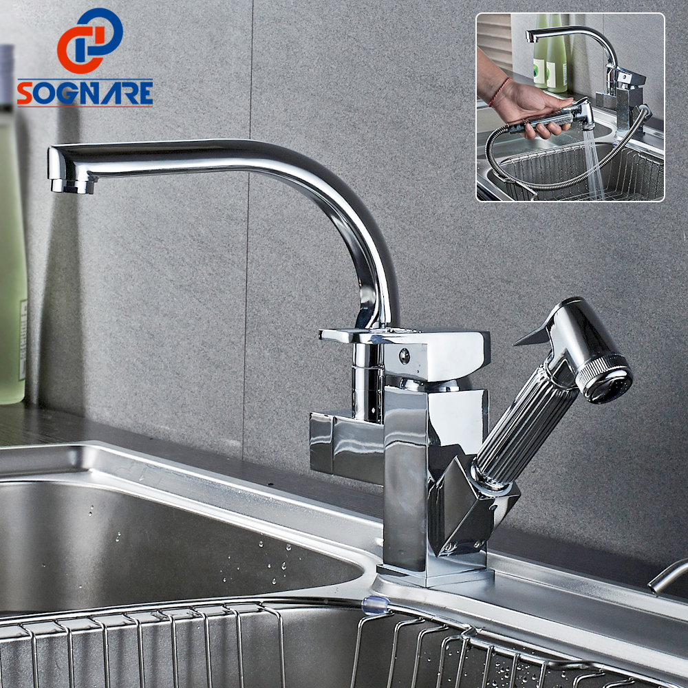 SOGNARE Kitchen Faucets Pull Out Sprayer Vessel Sink Faucet Single Handle Hole Mixer Tap Chrome Brass Double Spouts 360 Degree new pull out swivel chrome brass kitchen faucet spout vessel basin sink single handle deck mounted mixer tap mf 446