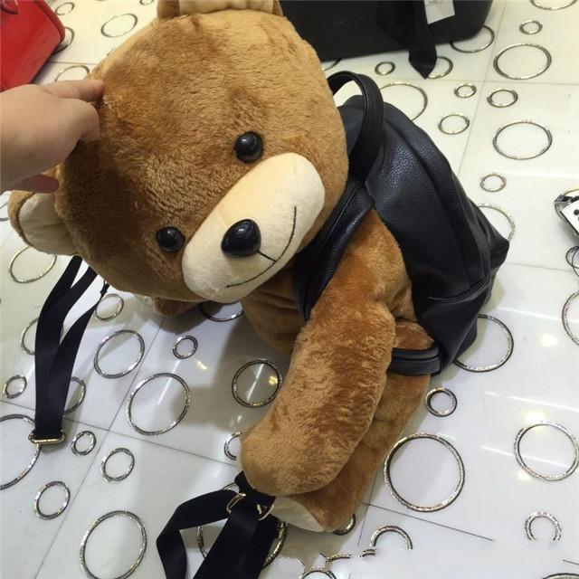 Super lindo de urso mochila pai-filho saco de pelúcia Mochila Um balão dos desenhos animados Animal de Pelúcia macia de pelúcia