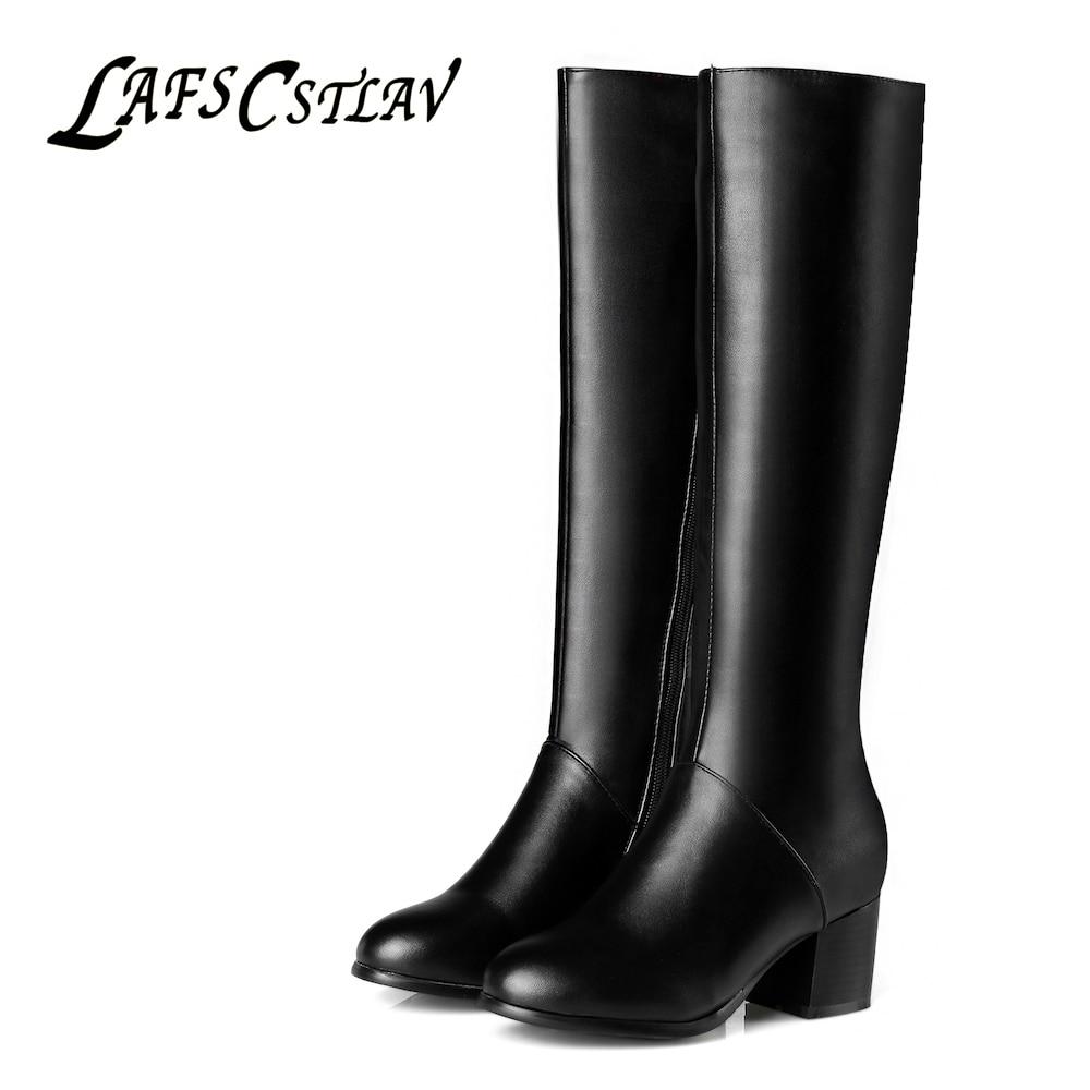 LAFS CSTLAV Kniehohe Stiefel für Damen Schwarz Weiß Winter Stiefel - Damenschuhe - Foto 1