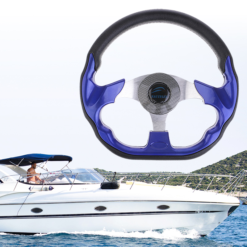 1 Pcs Universal Black Blue 320mm Steering Wheel Non-directional 3 Spoke Steering Wheel For Boat Vessels Yacht Pontoon Boat Etc