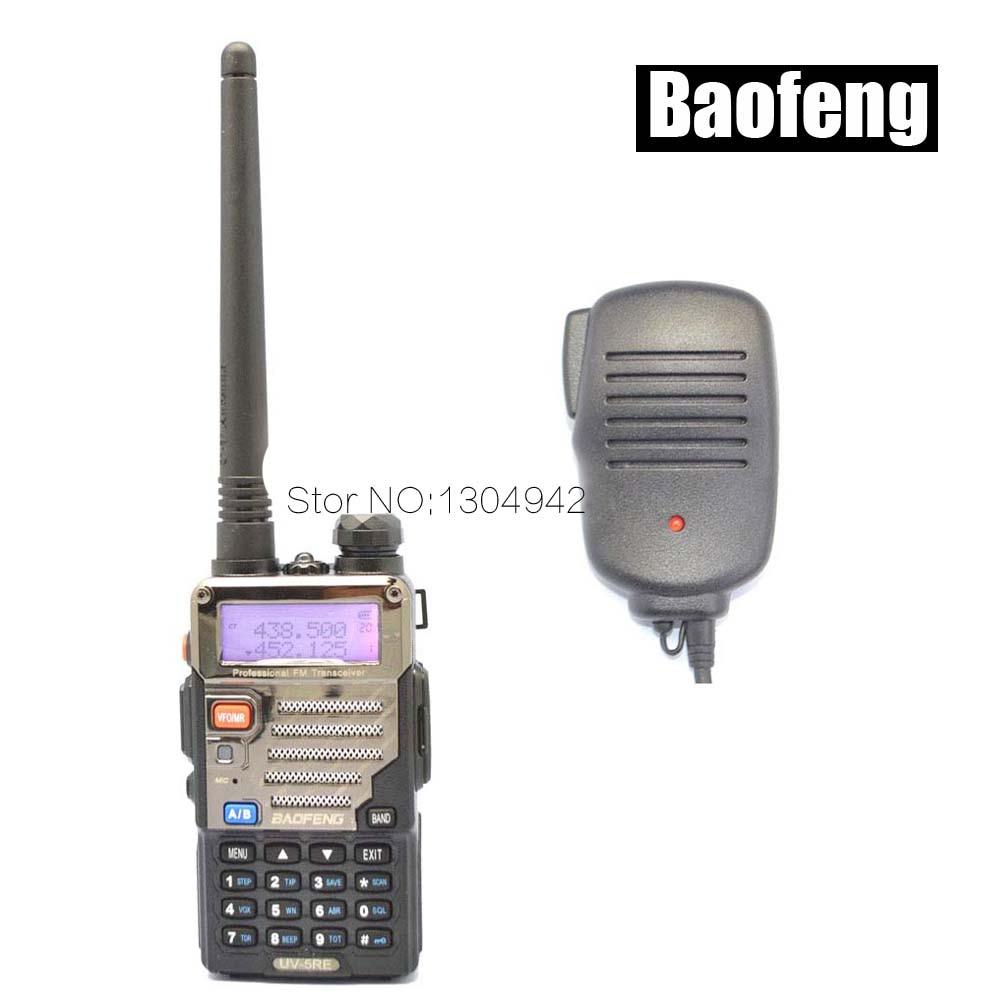 Radio sets New Black BAOFENG UV-5RE VHF/UHF Dual Band ham two way Radio amateur walkie talkie + Speaker Mic Telecom Parts
