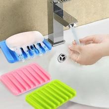 Ванная комната силиконовые гибкие мыльницы держатель для хранения Soapbox пластина сушка на подносе творческие инструменты для ванной