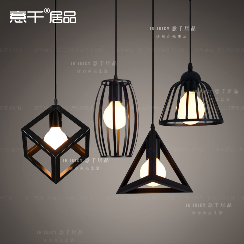 ФОТО Simple Retro Vintage Edison Industrial Nordic Loft Square Black White Iron Ceiling Lamp Droplight Cafe Bar Club Dining Room Hall
