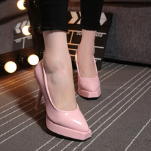 2016 New Western Style Fashion Woman Pumps Square Toe Super Thin Heels Shallow Mouth PU Leather Sweet Ladies Shoes ST171