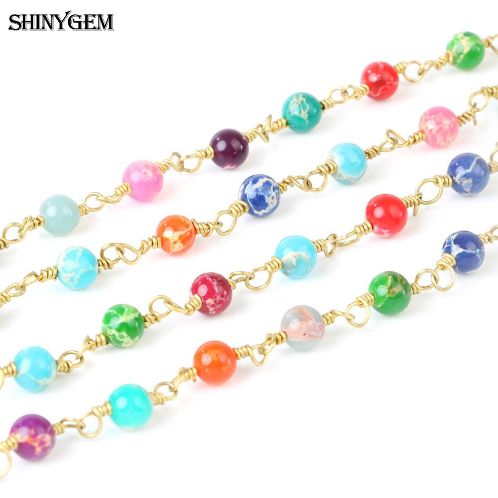 ShinyGem 6mm Imperial Jasper Bead Chain Natural Stone Gold Plated Rosary Chain For Jewelry Making Wholesale