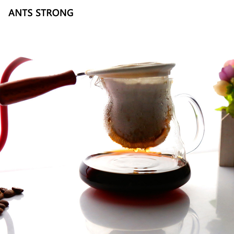 ANTS STRONG Solid wood handle coffee filter bag/reusable flannel filter cloth tea filter bag coffee tools