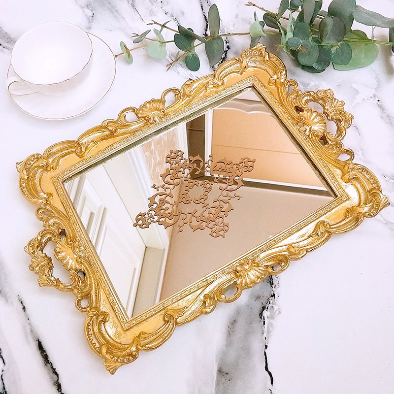 Golden Europe Resin Mirror Plates Jewelry Earring Necklace Tray Ivory White Palace Carved Flowers Golden Mirror Storage Trays in Storage Trays from Home Garden