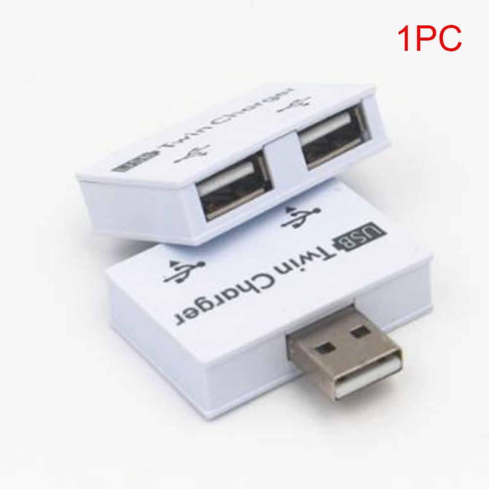 2 portas Carregador Gêmeo Profissional Prático Para Tablet Telefone Portátil Estável ABS Splitter Adaptador Hub USB Moda Mini Extensor