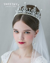 SWEETV Vintage Pearl Bridal Hair Accessories Rhinestone Crown Cake Topper Wedding Tiara Pageant Headpieces Women Head Pieces