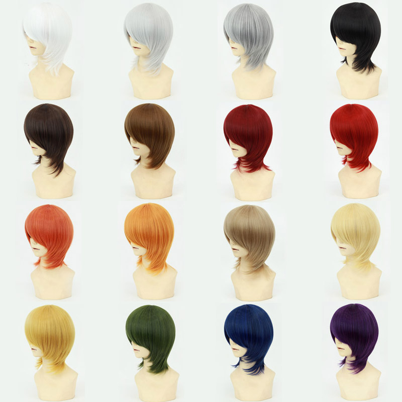 Cosplay Short Wigs Full Lace Anime Game 16 Colors 35-40cm/11.8inch Hallowmas Stage Performance Natural Daily Wig