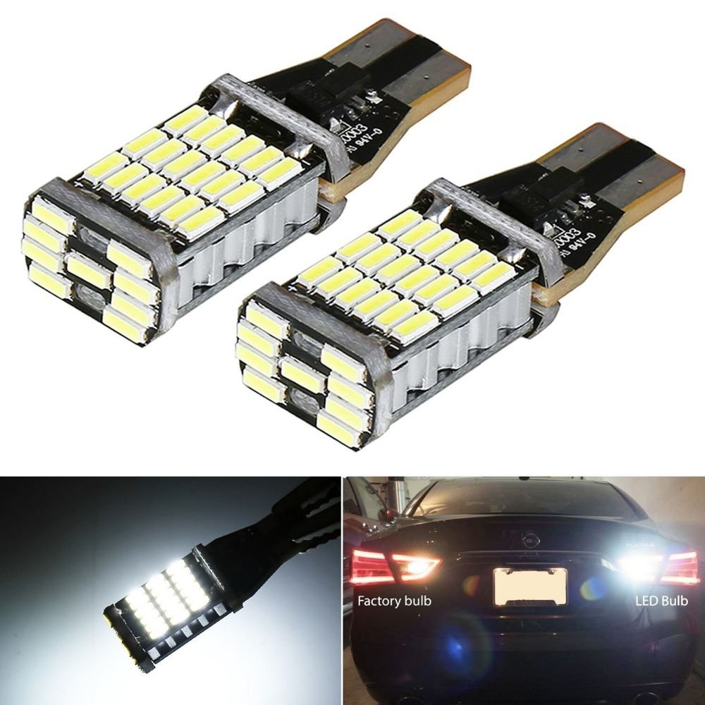 2pcs T15 W16W 921 Canbus No ERROR Car Backup Reserve Lights Bulb Brake Lamp Xenon White Super Bright High Power 45 SMD 4014 LED