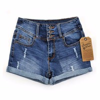 2014 Summer New Korean Women Thin Beaded Three Dimensional Flowers Diamond Denim Shorts With Hole