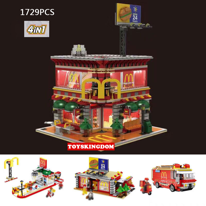 Hot city street view Ronald MacDonald Restaurant 4IN1 Wheels on Meals figures building block with light bricks toys collection harriott ainsley ainsley harriott s low fat meals in minutes
