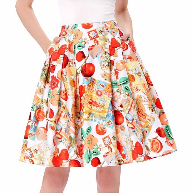 Moda floral ocasional del algodón faldas plisadas para mujer de cintura alta retro vintage falda de midi 2017 saia faldas wiggle falda con bolsillo