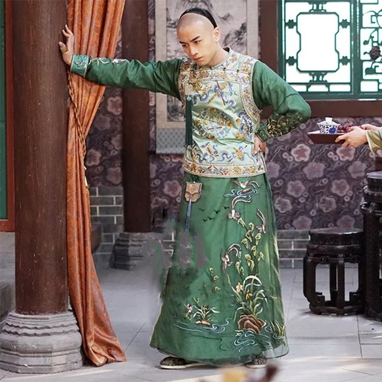 Shen XingYi Delicate Embroidery Male Costume Late Qing Dynasty Rich Men's Long Gown For Latest TV Play Nothing Gold Can Stay
