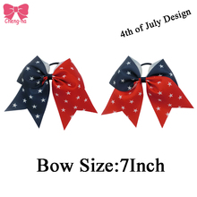 Handmade Stars Patriotic Hair Bow USA 4th of July Boutique American Headwear Scrunchy Elastic Hair Bands Accessories