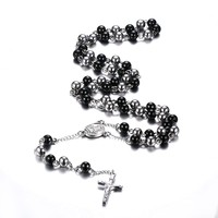 Fashion Black Silver Color Rosary Necklace Stainless Steel Jesus Cross Long Necklace Jewelry