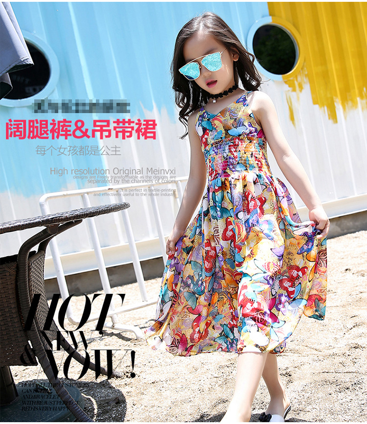 2019 new boho style children 39 s suspenders skirt girls summer dress floral wide leg pants personality jumpsuit in Pants from Mother amp Kids