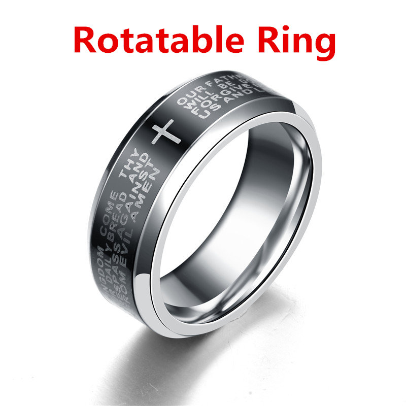 8mm English Serenity Bible Prayer Cross Stainless Steel Rings For Men Wedding Ring Engagement Rotatable Ring titanium ring
