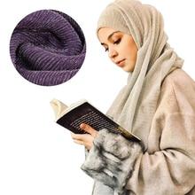 2019 Arab Headwear Crinkled hijab Under Scarf Gold Silver Wire Muslim Female shawl and wrap Turban Full Cover Cap Head Scarves