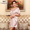 women Summer Silk Satin Nightgown Short Sleeve Bathrobe  Sleepwear Homewear Dress