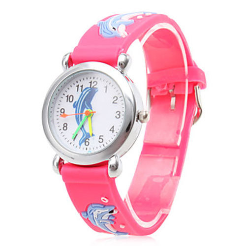 Children Kids Waterproof Quartz Watch Kid Cartoon Girl Watches Silicone Band Dolphin Montre Enfant Cute Colorful Clock for Girls rainbow color stripe cartoon kids children watch boy girl novelty transparent band wrist watches