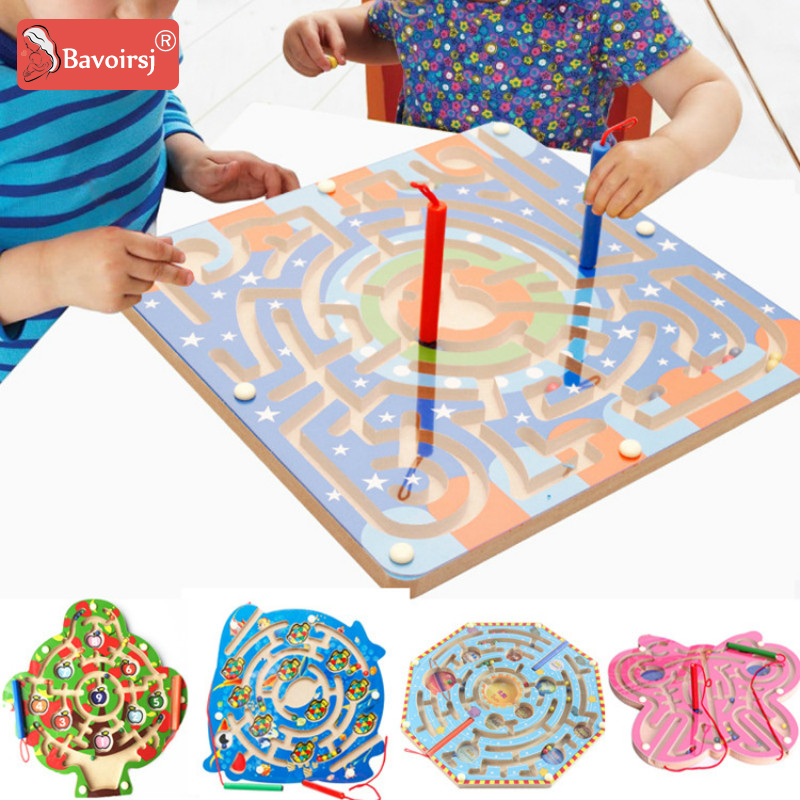 3D Cartoon Star Sky Maze Magnetic Baby Toys for Kids Early Educational Puzzle Wooden Toys Montessori Children's Toy T0156 wooden kids stringing bead roller coaster maze puzzle toy early educational toys for baby children vegetable pattern round bead