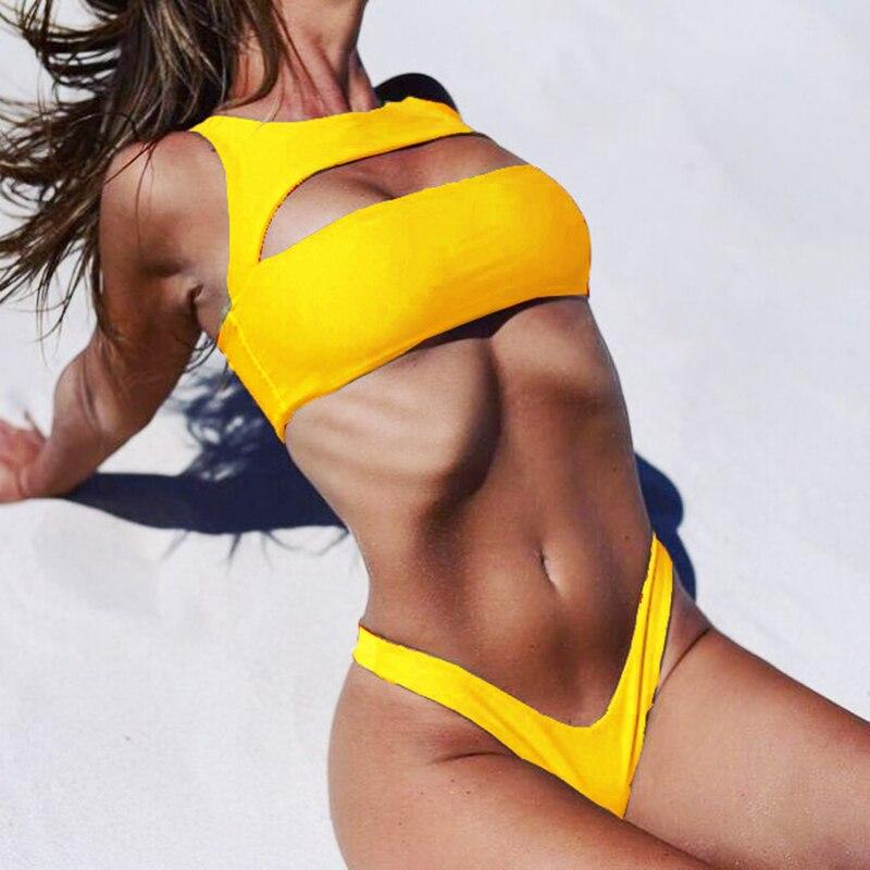 ZTVitality Solid Bikinis 2018 nueva llegada de cintura baja ahueca hacia fuera Bikini de pierna alta traje de baño para mujer traje de baño Biquini